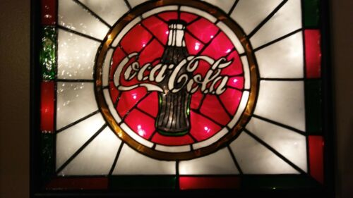 Coca Cola Inspired Sign Stained Glass Look Lighted Hand Painted