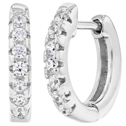 925 Sterling Silver Clear CZ Small Hoop Huggie Girls Earrings 10mm