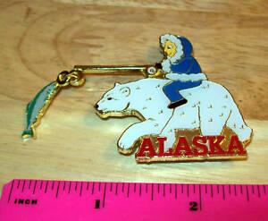 Alaska-Magnet-Eskimo-riding-polar-bear-w-fish-Metal-unique-Alaska-collectible
