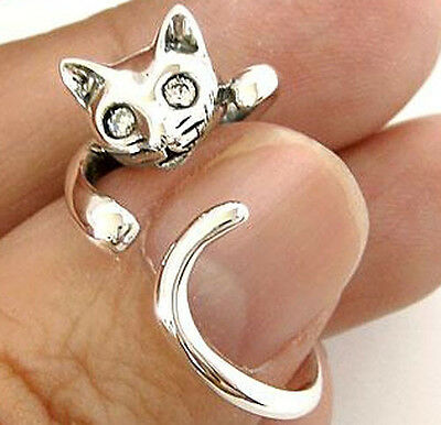 HANGING CAT CUTE LOVELY STERLING 925 SILVER RING Sz 6