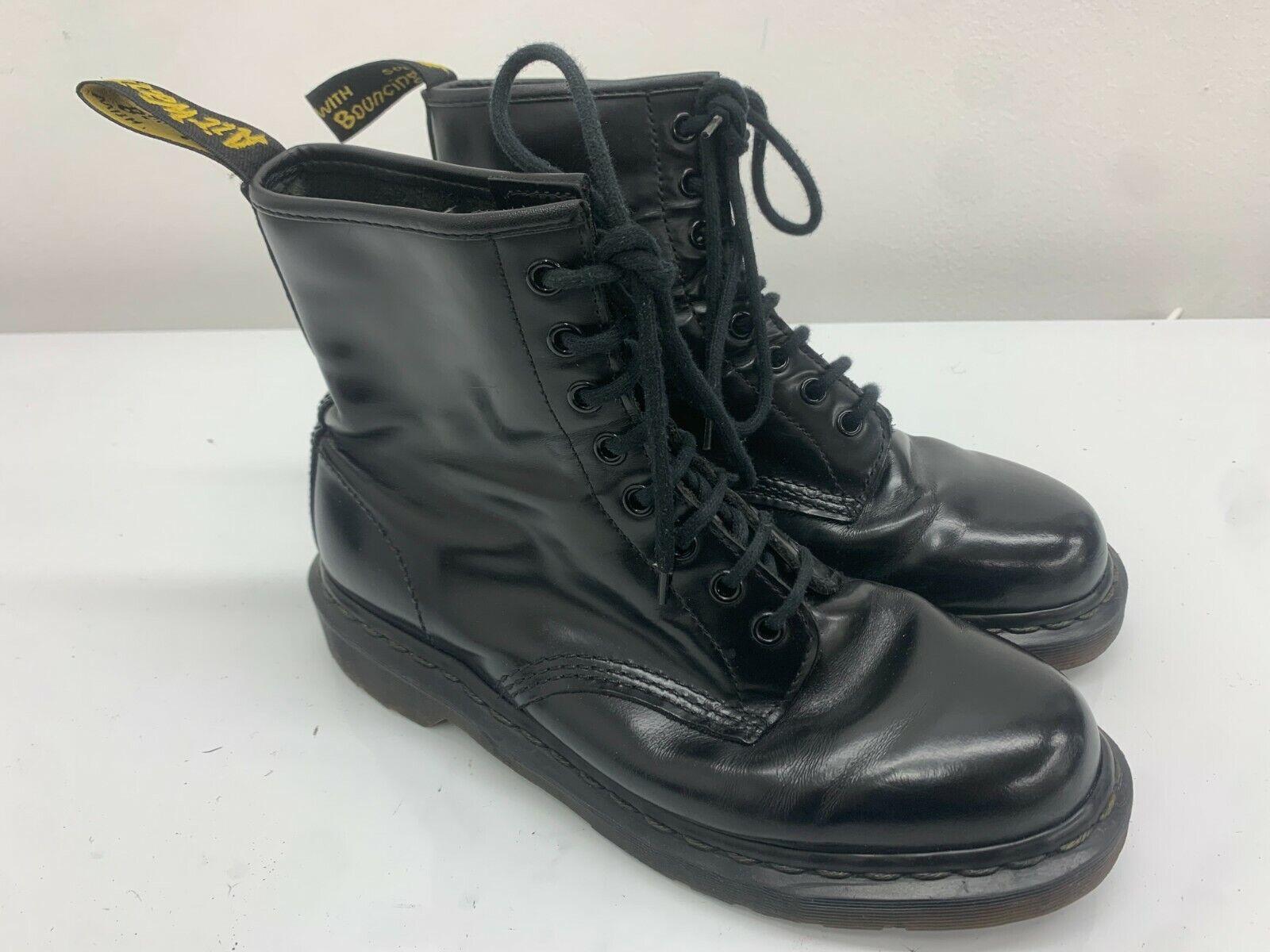 Dr Doc Martens Boots, Size 8UK, Black Shiny, 8 Eyelet, Docs Rare