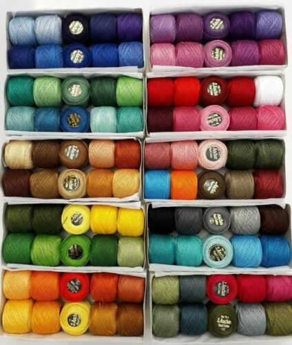 100 ANCHOR Pearl Cotton Crochet Size 8 Embroidery Thread Balls Main Best Colors