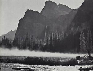 1950s-Vintage-ANSEL-ADAMS-Yosemite-Valley-Fog-Mountain-Landscape-Photo-Art-11X14