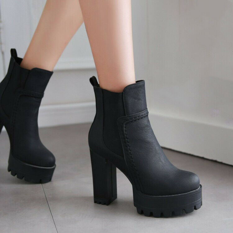 FASHION Women Ankle Boots Combat Chunky Heels Elastic Boots shoes Big Size 3-16