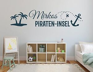 wandtattoo name kinderzimmer baby junge pirat pirateninsel aufkleber pkm166 ebay. Black Bedroom Furniture Sets. Home Design Ideas