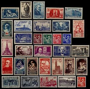 L-039-ANNEE-1939-Complete-Neufs-Cote-157-Lot-Timbres-France-419-a-450