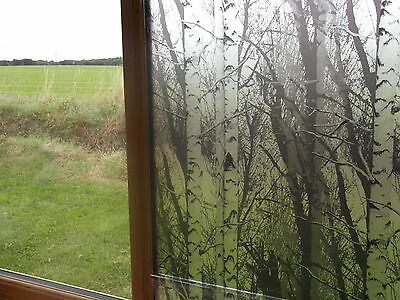 1.5m PRIVACY TREES WOOD FROSTED GLASS STATIC CLING WINDOW COVERING SELF ADHESVE