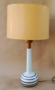 Signed Martz Table Lamp Teak Pottery Orig Shade & Finial ...