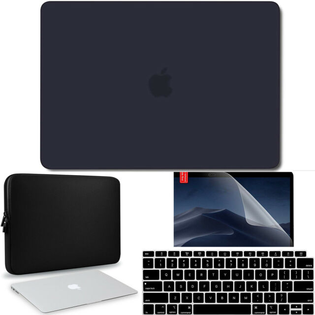 Black Ultra-Slim Rubberized Case+Clear KB+HD LCD 2018 NEW Macbook A1989 A1990-US
