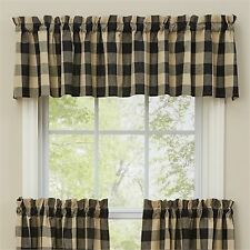 Window Curtain Valance - Wicklow in Black by Park Designs - Black & Tan