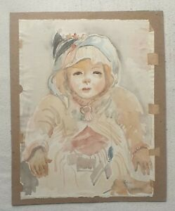 Dorothy-Colles-1917-2003-original-signed-water-colour-painting-young-child