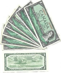 Canada-One-Dollar-1-1954-Circulated-Banknotes-Modified-Portrait