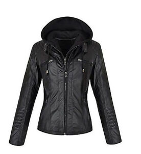 1f33ab273 Details about Women's Sleek Faux Leather Moto Jacket with Removable Hood