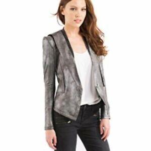 COMME-USA-Women-039-s-Size-L-Silver-Metallic-Faux-Leather-Snake-Skin-Jacket