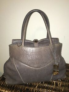 Coccinelle-Distressed-Gray-Taupe-Slouchy-Double-Handle-Tote-Doctors-Bag