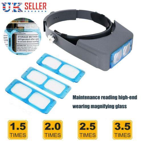 Optivisor Lens Head Magnifier Glasses Magnifying Visor Glass Headband w// 4 Lens