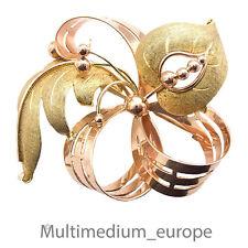 große Art Deco 585 Rotgold Gelbdold Brosche Wien Schleife pin brooch gold 18g