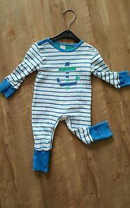 KANZ-Strampler-Schlafanzug-blau-weiss-gestreift-Gr-56-62-68-mit-Anker-NP-27
