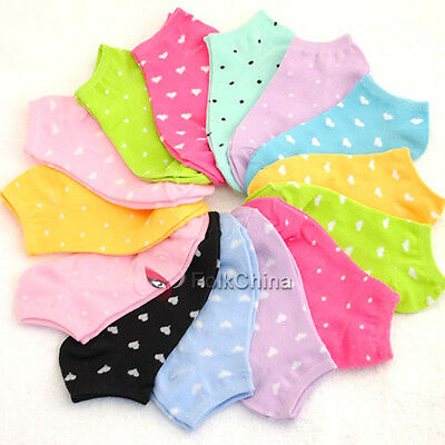Lady Womans Girls Heart or Dot Trainer Ankle Sport Socks Cotton One Size