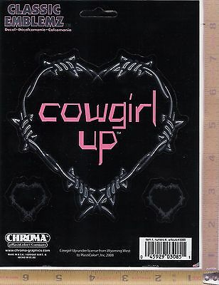 Chroma Graphics 3085 6 x 8 Cowgirl Up Barbwire Heart Classic Emblemz Decal