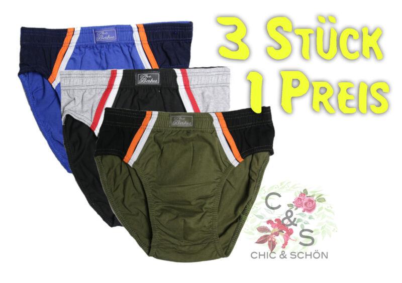 3 Stück Herren Sport - Slip Baumwolle 4 Farben, Farbteiler Prima Paßform