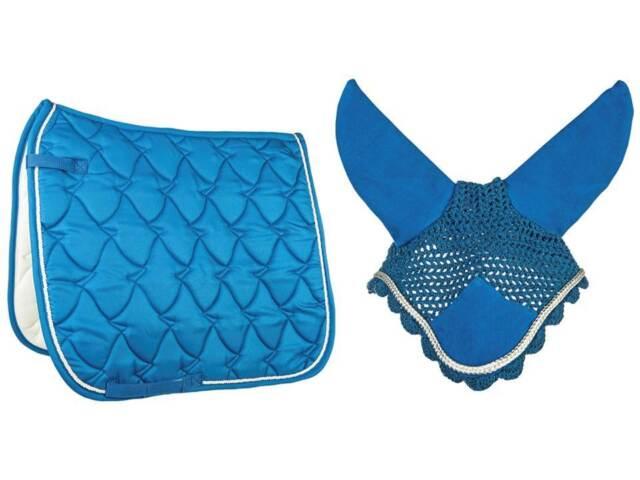 % HKM Set Schabracke Cassandra Softice 2014 mit Fliegenhaube blau kornblau