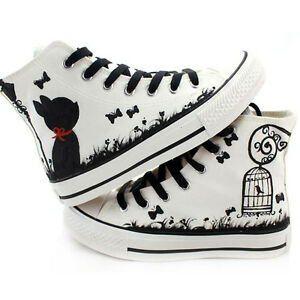 Fashion-Hand-painted-Cute-Cartoon-Cats-amp-Birds-Comfortable-Canvas-Shoes