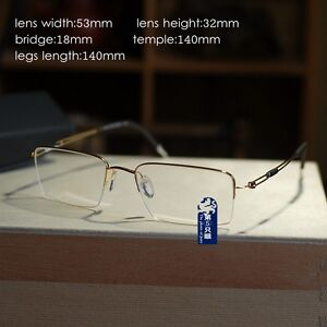 abcf4b7cd6 Image is loading Luxury-Pure-Titanium-Half-Rimless-Eyeglasses-Frame-Mens-