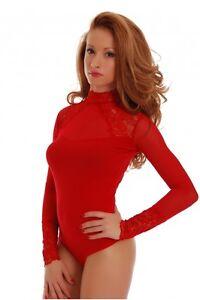 f577972fe2 Image is loading Women-Long-Sleeve-Bodysuit-Lace-Leotard-Turtleneck-Top-