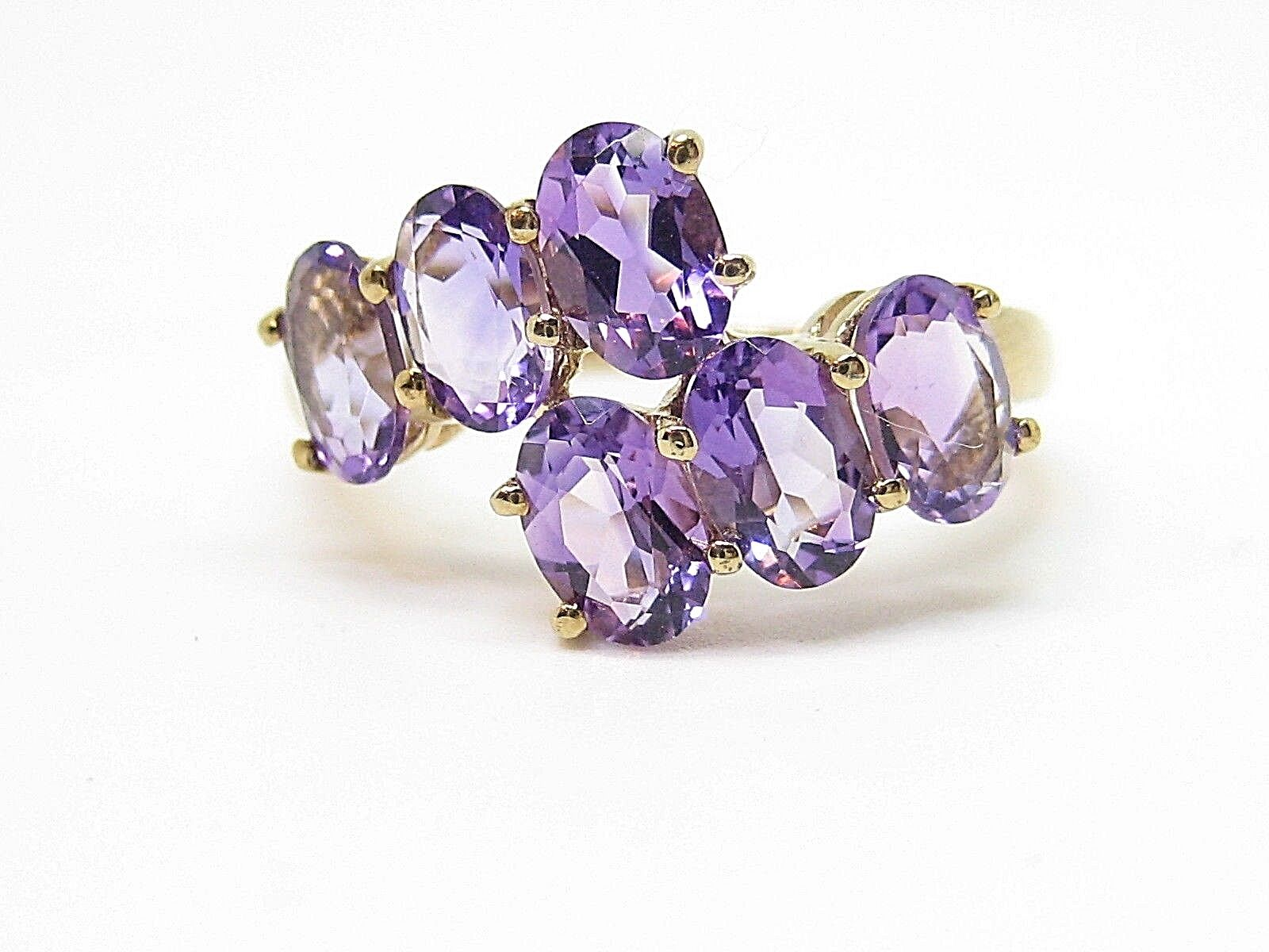 Amethyst 2.40ct. Yellow gold Hallmark 9Carat Ring Size N 1 2
