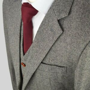Wool Blend Gray Men Herringbone Tweed Formal Suit Tuxedo Party Prom Wedding Suit