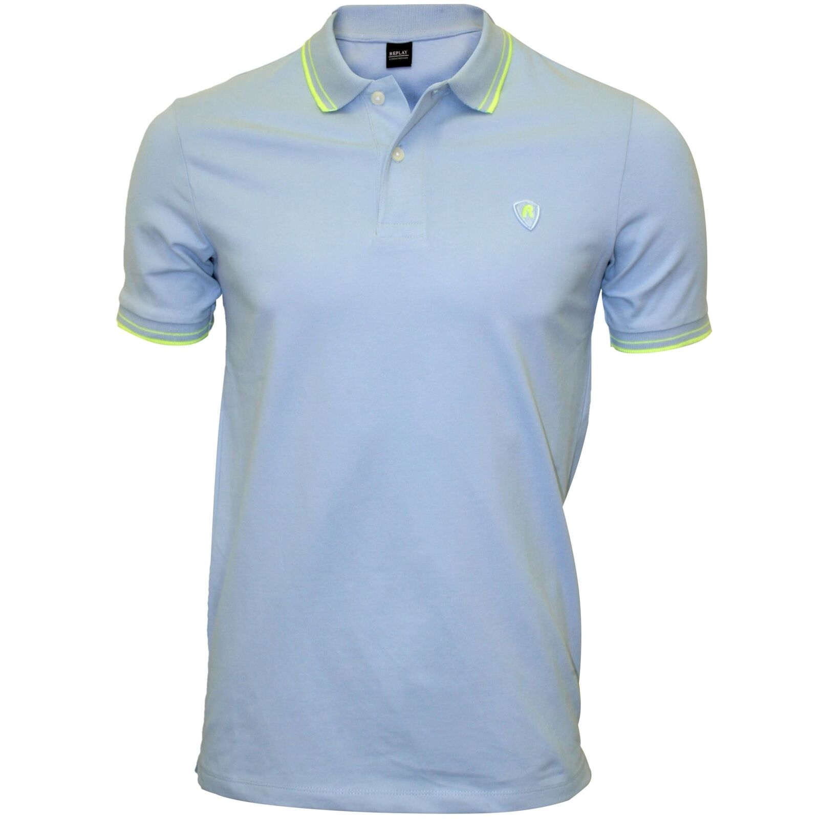 Replay Colour Contrast Men's Polo Shirt, Light Azure