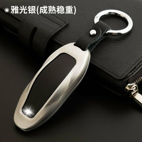 Zinc Alloy Car Key Case Shell Protective Cover Silver for Tesla Model S