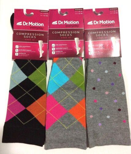 3 Pairs Dr Motion Mild Compression 8-15mmHg Knee-Hi Women/'s Socks