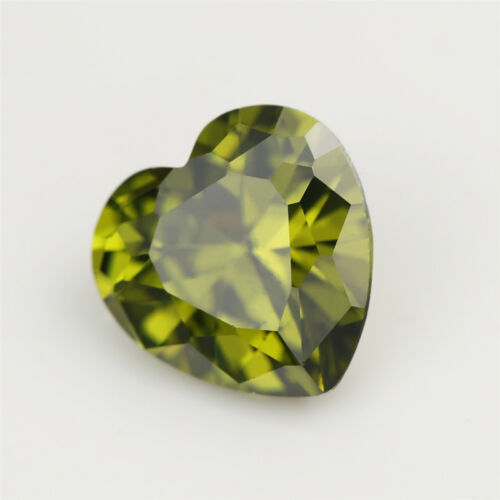 Details about  /Size 3x3~10x10mm Heart Brilliant Cut Olive Green Cubic Zirconia CZ Stone