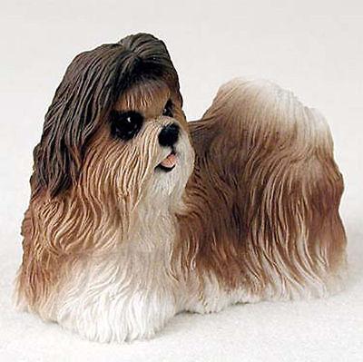 Shih Tzu Hand Painted Dog Figurine Statue Tan