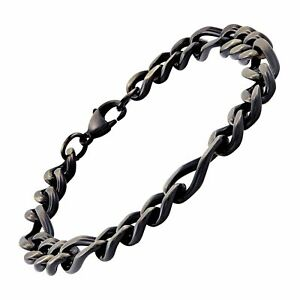 Men's Oval Cuban Link Figaro Bracelet in Black Ion-Plated Stainless Steel, 9