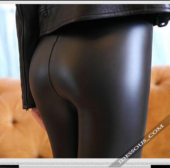 Matt Leder Optik Leggings High Waist Hoher Bund Leggins XS S M L 34 36 38 40 42