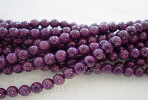 2 Strands of Plum Pudding Fossil Round Beads 6MM