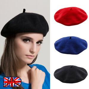 70561e6b Womens Girls French Beret Hats Real Wool Winter Plain Hat Ladies ...