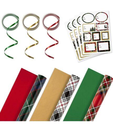 Ribbon /& Seals- 120 Sq 3 rolls Ft. Hallmark Plaid Ensemble Wrapping Paper