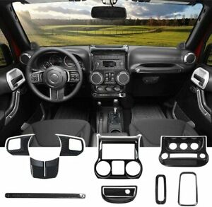 10PC Interior Decoration Trim Kit Accessories for Jeep Wrangler JK JKU 2011-2017
