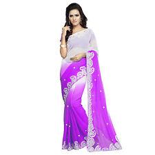 Karishma Designer's Purple Shaded Faux Chiffon Embroidered Sari With Blouse