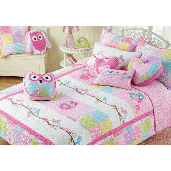 Fille 100% Coton Rose Hibou Couette (twin taille)