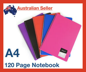 A4 Notebook 7mm Ruled Exercise Book 120 Pages School Lined Spiral Colourhide NEW