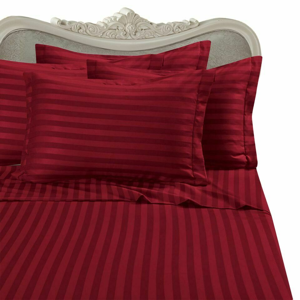 1000 Thread Count 100% Egyptian Cotton 1000 TC Bed Sheet Set KING Red Stripe