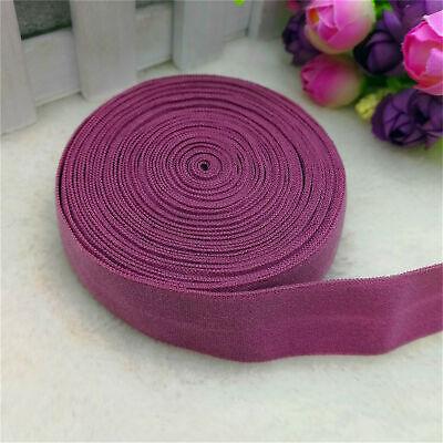 "New 5 yards 3//4/"" 20mm Lace Multirole fold over elastic Spandex Satin Band purple"