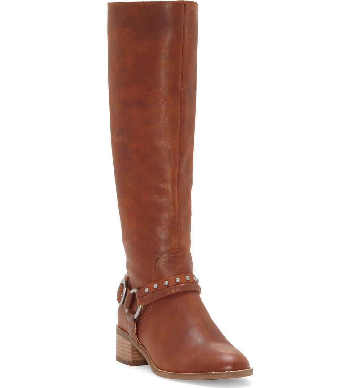 Lucky Brand KARESI Equestrian Boot Whiskey Tan Leather Knee High Riding Boots