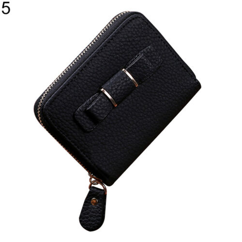 KQ/_ Women/'s Bowknot Faux Leather Wallet Short Purse Phone Card Holder Clutch