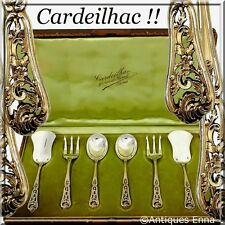 Cardeilhac French Sterling Silver 18K Gold Hors D'oeuvre Dessert Set 6 pc w/box